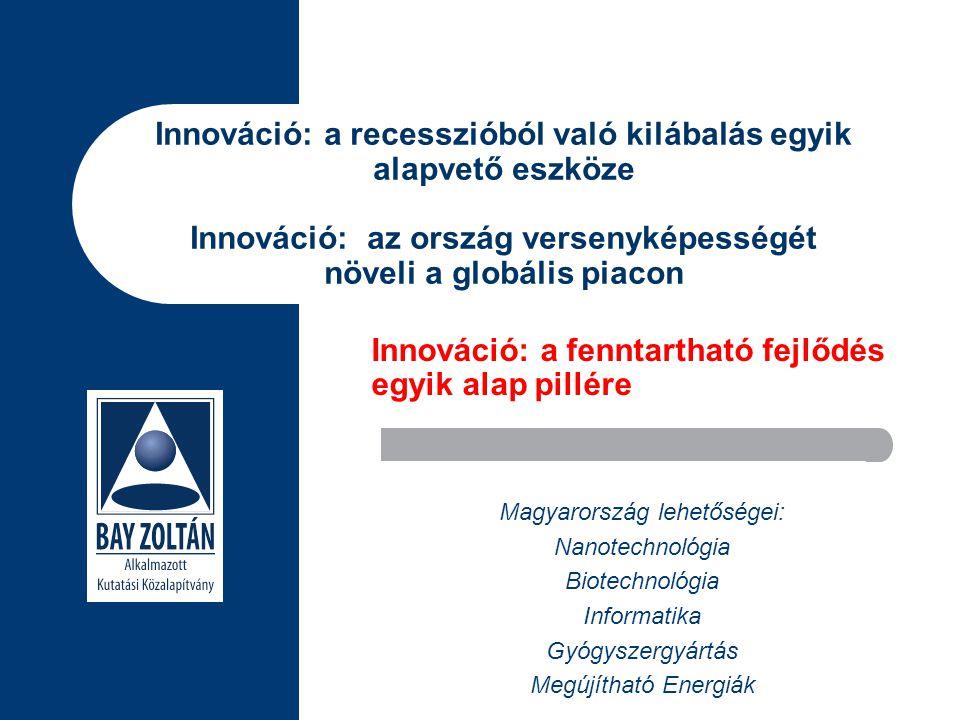 Innováció: a recesszióból való kilábalás egyik alapvető eszköze Innováció: az ország versenyképességét növeli a globális piacon Magyarország lehetőségei: Nanotechnológia Biotechnológia Informatika Gyógyszergyártás Megújítható Energiák Innováció: a fenntartható fejlődés egyik alap pillére