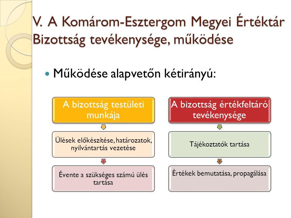 V. A Komárom-Esztergom Megyei Értéktár Bizottság tevékenysége, működése Működése alapvetőn kétirányú: A bizottság testületi munkája Ülések előkészítés