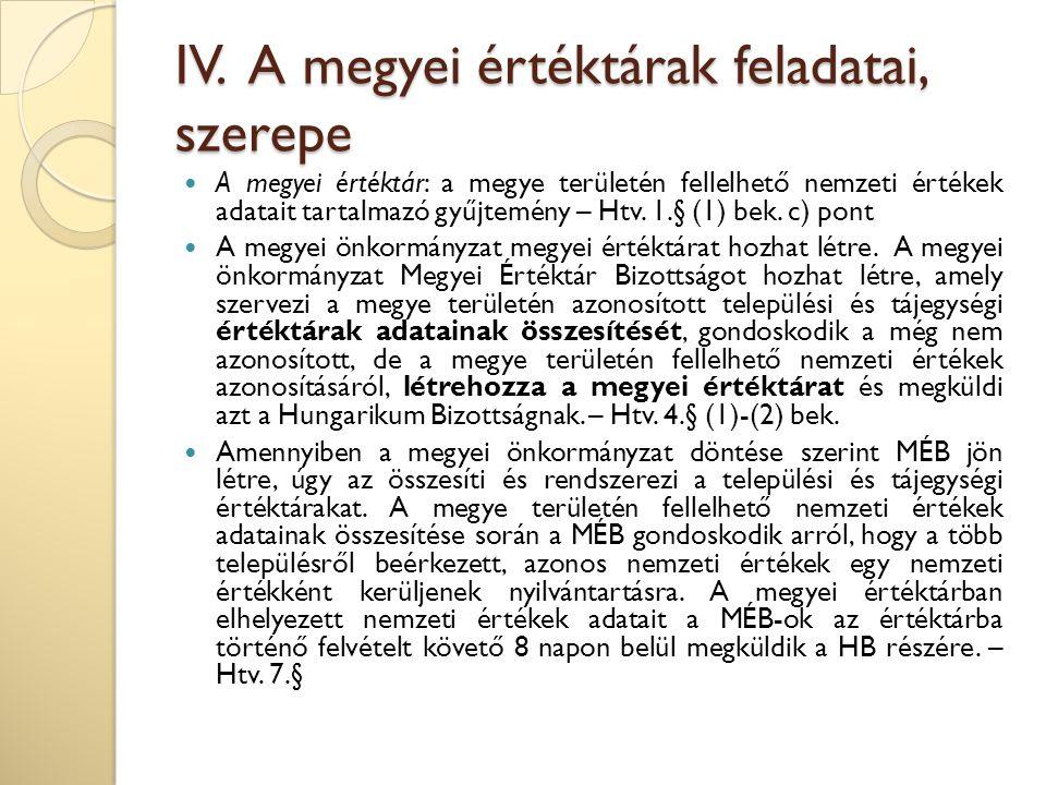 IV. A megyei értéktárak feladatai, szerepe A megyei értéktár: a megye területén fellelhető nemzeti értékek adatait tartalmazó gyűjtemény – Htv. 1.§ (1