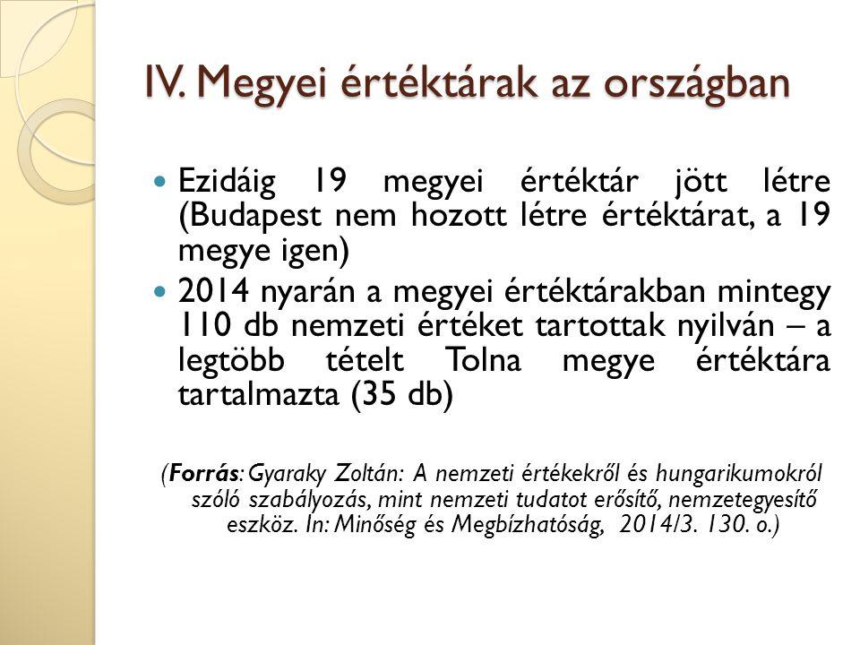 IV. Megyei értéktárak az országban Ezidáig 19 megyei értéktár jött létre (Budapest nem hozott létre értéktárat, a 19 megye igen) 2014 nyarán a megyei