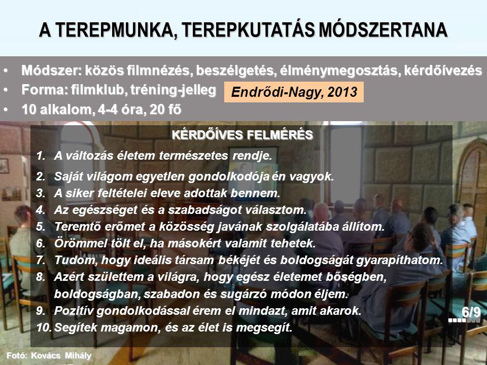 A TEREPMUNKA, TEREPKUTATÁS MÓDSZERTANA Endrődi-Nagy, 2013 Fotó: Kovács Mihály 1.A változás életem természetes rendje. 2.Saját világom egyetlen gondolk