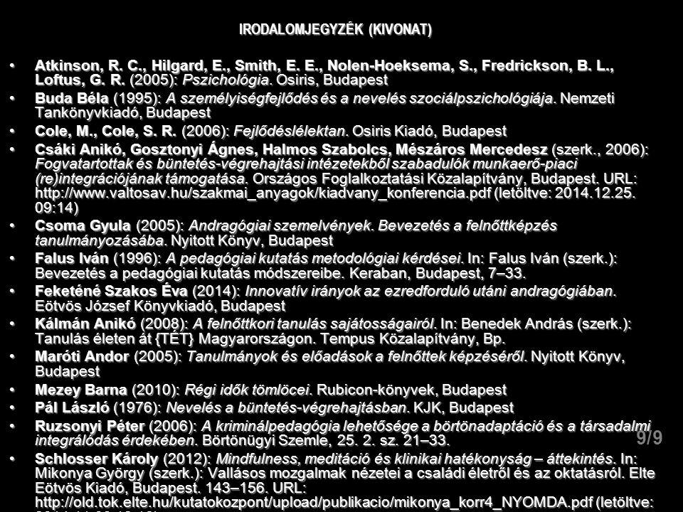 IRODALOMJEGYZÉK (KIVONAT) Atkinson, R. C., Hilgard, E., Smith, E. E., Nolen-Hoeksema, S., Fredrickson, B. L., Loftus, G. R. (2005): Pszichológia. Osir