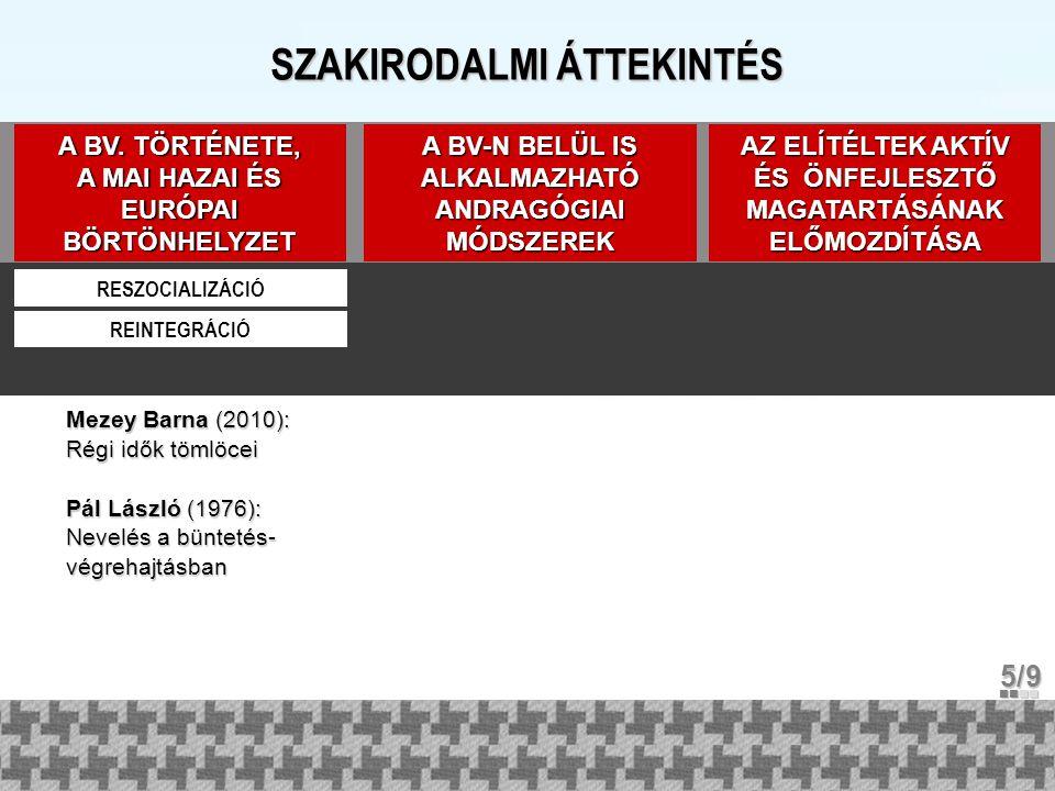 SZAKIRODALMI ÁTTEKINTÉS A BV. TÖRTÉNETE, A MAI HAZAI ÉS EURÓPAI BÖRTÖNHELYZET RESZOCIALIZÁCIÓ REINTEGRÁCIÓ Mezey Barna (2010): Régi idők tömlöcei Pál