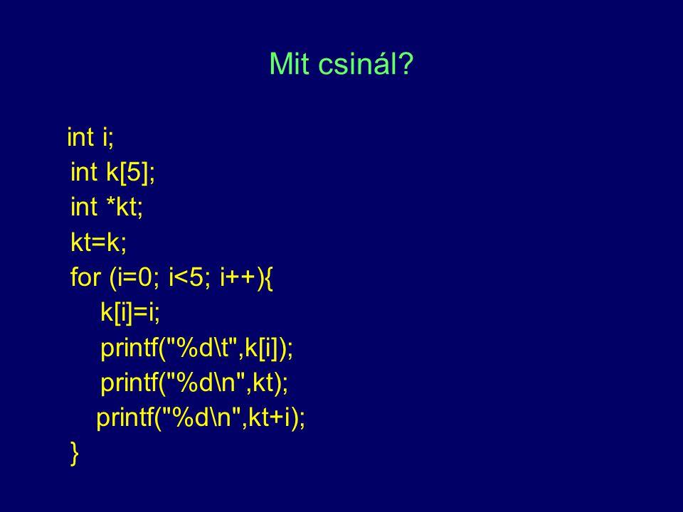Mit csinál? int i; int k[5]; int *kt; kt=k; for (i=0; i<5; i++){ k[i]=i; printf(