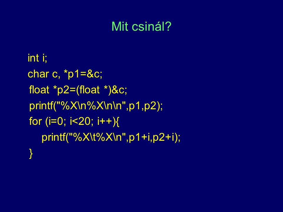 Mit csinál? int i; char c, *p1=&c; float *p2=(float *)&c; printf(