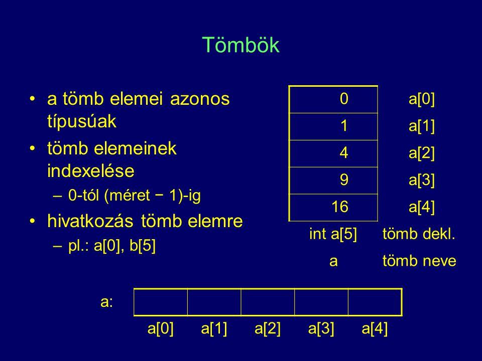 Tömbök a tömb elemei azonos típusúak tömb elemeinek indexelése –0-tól (méret − 1)-ig hivatkozás tömb elemre –pl.: a[0], b[5] 0a[0] 1a[1] 4a[2] 9a[3] 1