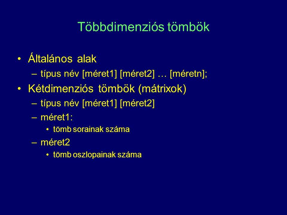 Többdimenziós tömbök Általános alak –típus név [méret1] [méret2] … [méretn]; Kétdimenziós tömbök (mátrixok) –típus név [méret1] [méret2] –méret1: tömb