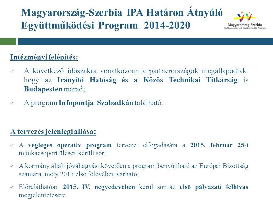 Magyarország-Szerbia IPA Határon Átnyúló Együttműködési Program 2014-2020 Intézményi felépítés: A következő időszakra vonatkozóan a partnerországok me