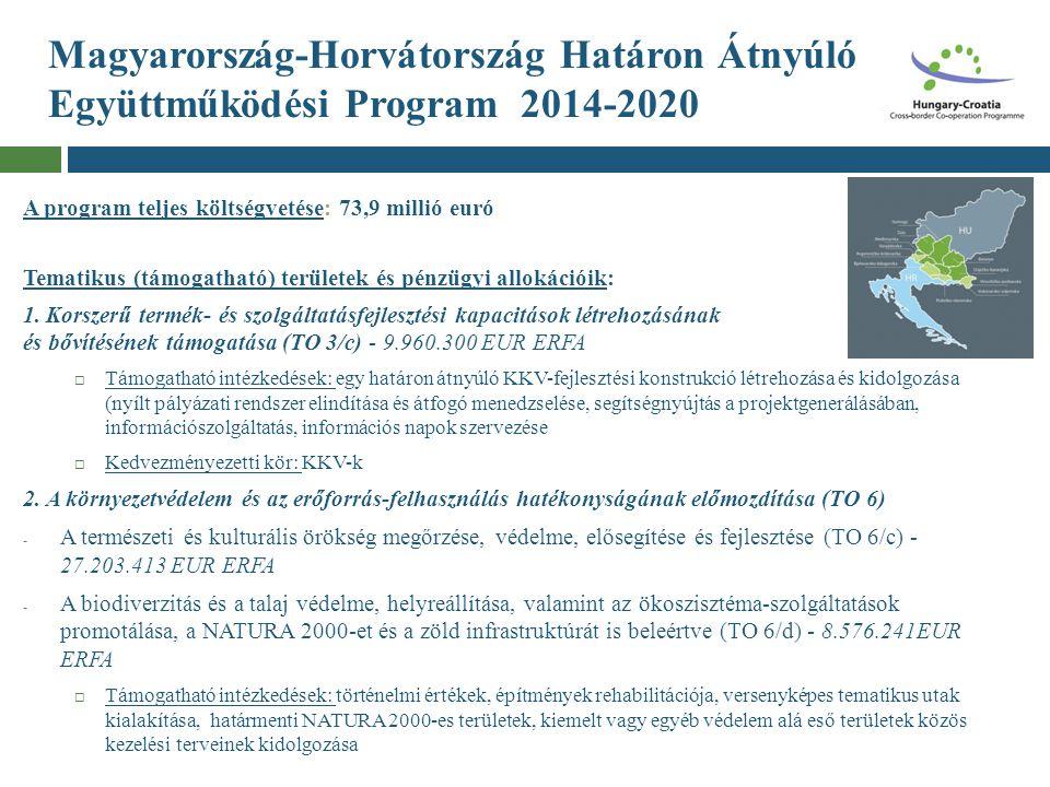 Magyarország-Horvátország Határon Átnyúló Együttműködési Program 2014-2020 A program teljes költségvetése: 73,9 millió euró Tematikus (támogatható) te