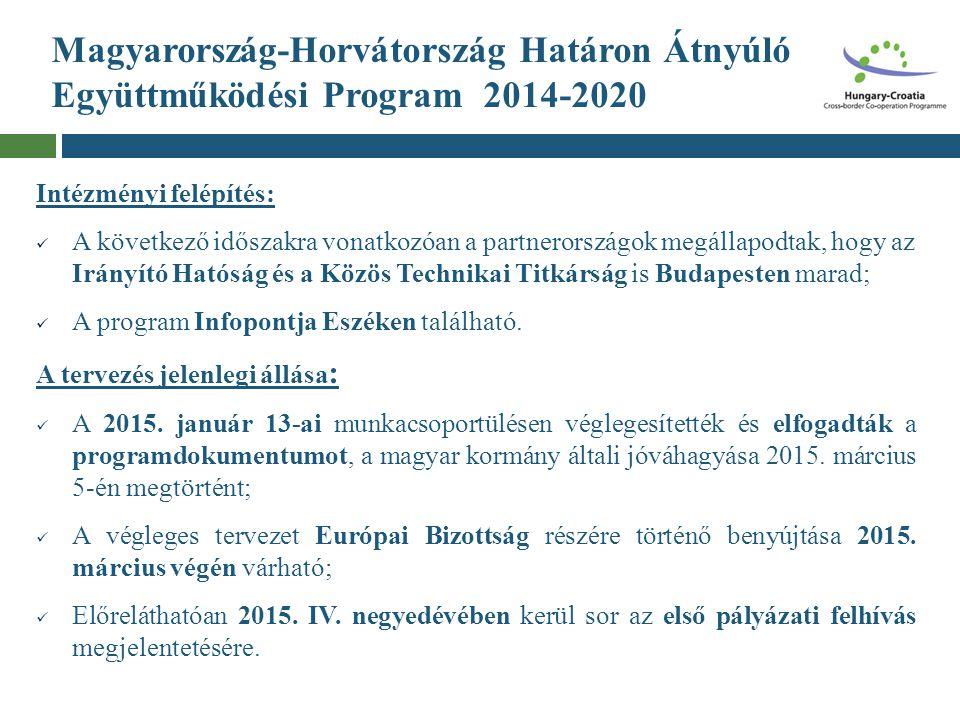 Magyarország-Horvátország Határon Átnyúló Együttműködési Program 2014-2020 Intézményi felépítés: A következő időszakra vonatkozóan a partnerországok m