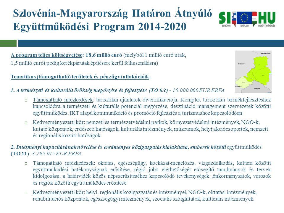 Szlovénia-Magyarország Határon Átnyúló Együttműködési Program 2014-2020 A program teljes költségvetése: 18,6 millió euró (melyből 1 millió euró utak,