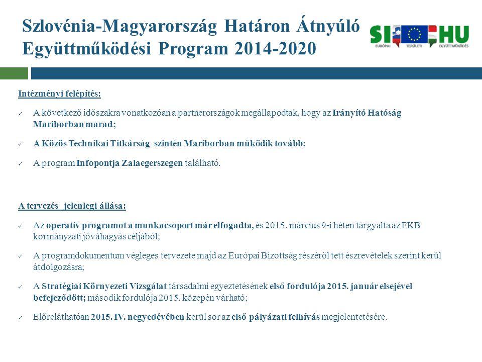 Szlovénia-Magyarország Határon Átnyúló Együttműködési Program 2014-2020 Intézményi felépítés: A következő időszakra vonatkozóan a partnerországok megá