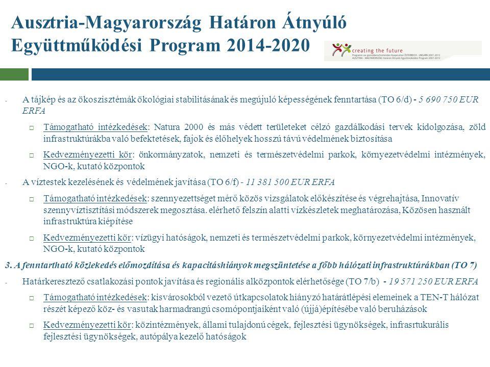 Ausztria-Magyarország Határon Átnyúló Együttműködési Program 2014-2020 - A tájkép és az ökoszisztémák ökológiai stabilitásának és megújuló képességéne