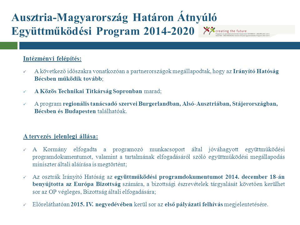 Ausztria-Magyarország Határon Átnyúló Együttműködési Program 2014-2020 Intézményi felépítés: A következő időszakra vonatkozóan a partnerországok megál