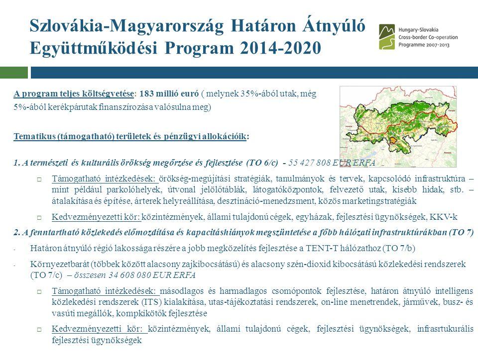 Szlovákia-Magyarország Határon Átnyúló Együttműködési Program 2014-2020 A program teljes költségvetése: 183 millió euró ( melynek 35%-ából utak, még 5