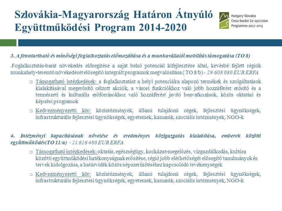 Szlovákia-Magyarország Határon Átnyúló Együttműködési Program 2014-2020 3. A fenntartható és minőségi foglalkoztatás előmozdítása és a munkavállalói m