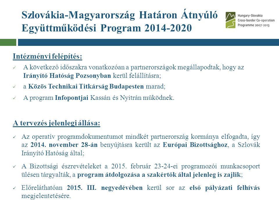 Szlovákia-Magyarország Határon Átnyúló Együttműködési Program 2014-2020 Intézményi felépítés: A következő időszakra vonatkozóan a partnerországok megá