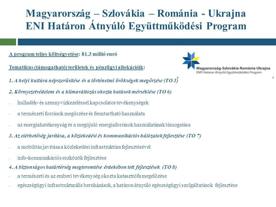 Magyarország – Szlovákia – Románia - Ukrajna ENI Határon Átnyúló Együttműködési Program A program teljes költségvetése: 81,3 millió euró Tematikus (tá