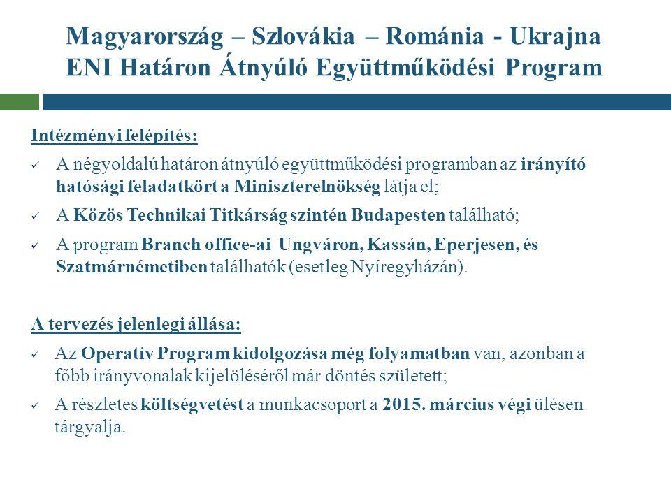 Magyarország – Szlovákia – Románia - Ukrajna ENI Határon Átnyúló Együttműködési Program Intézményi felépítés: A négyoldalú határon átnyúló együttműköd