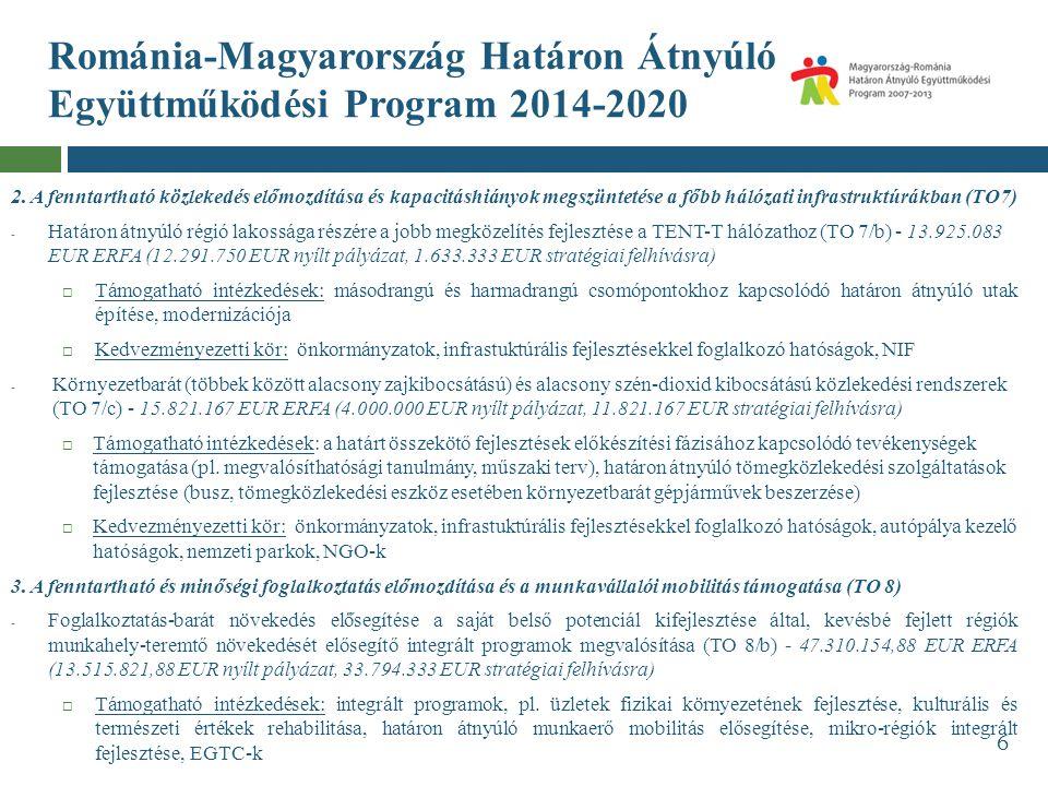Románia-Magyarország Határon Átnyúló Együttműködési Program 2014-2020 2. A fenntartható közlekedés előmozdítása és kapacitáshiányok megszüntetése a fő
