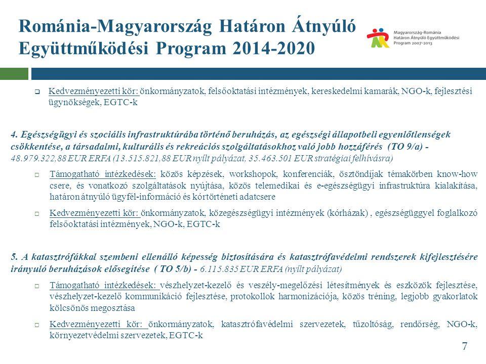 Románia-Magyarország Határon Átnyúló Együttműködési Program 2014-2020  Kedvezményezetti kör: önkormányzatok, felsőoktatási intézmények, kereskedelmi