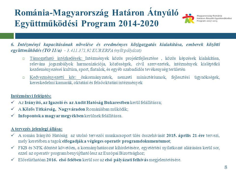 Románia-Magyarország Határon Átnyúló Együttműködési Program 2014-2020 6. Intézményi kapacitásának növelése és eredményes közigazgatás kialakítása, emb