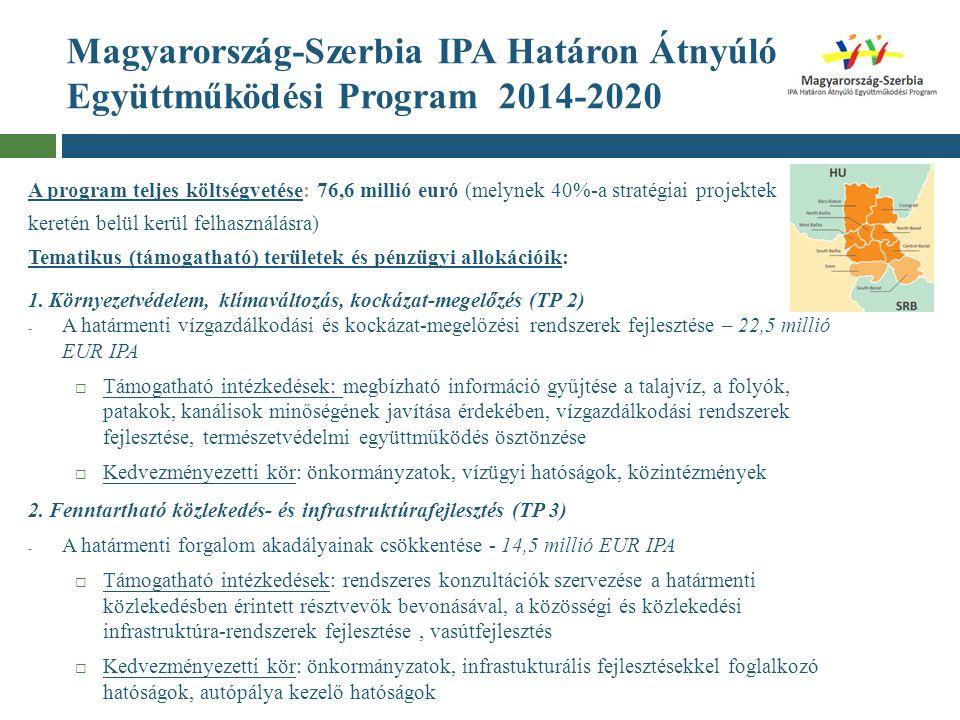 Magyarország-Szerbia IPA Határon Átnyúló Együttműködési Program 2014-2020 A program teljes költségvetése: 76,6 millió euró (melynek 40%-a stratégiai p