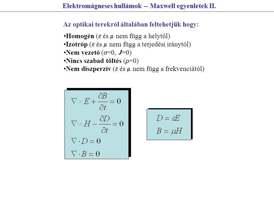 Elektromágneses hullámok -- Maxwell egyenletek II. Az optikai terekről általában feltehetjük hogy: Homogén (  és  nem függ a helytől) Izotróp (  és