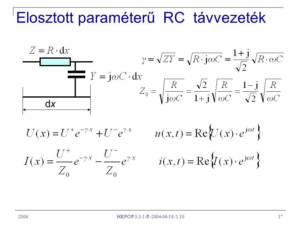2006 HEFOP 3.3.1-P.-2004-06-18/1.10 17 Elosztott paraméterű RC távvezeték dxdx
