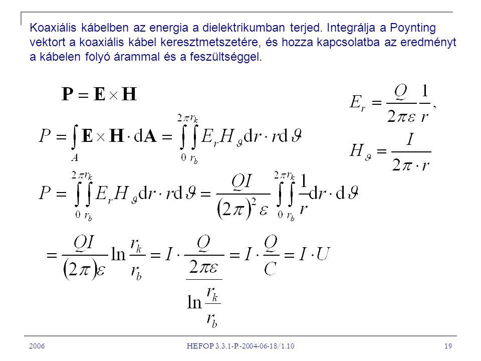2006 HEFOP 3.3.1-P.-2004-06-18/1.10 19 Koaxiális kábelben az energia a dielektrikumban terjed. Integrálja a Poynting vektort a koaxiális kábel kereszt