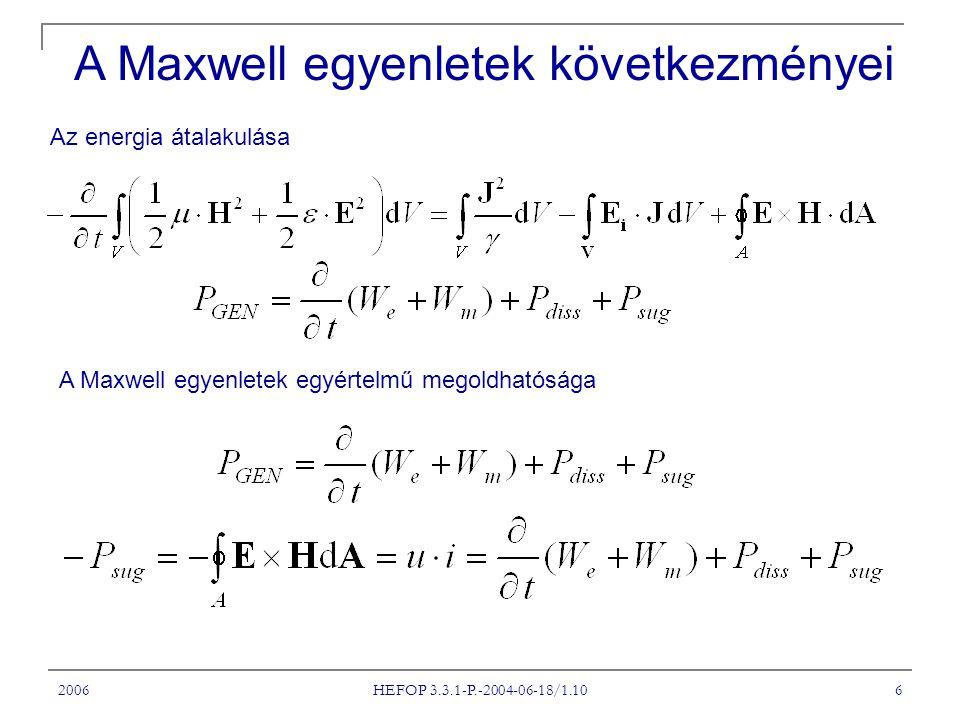 2006 HEFOP 3.3.1-P.-2004-06-18/1.10 6 Az energia átalakulása A Maxwell egyenletek következményei A Maxwell egyenletek egyértelmű megoldhatósága