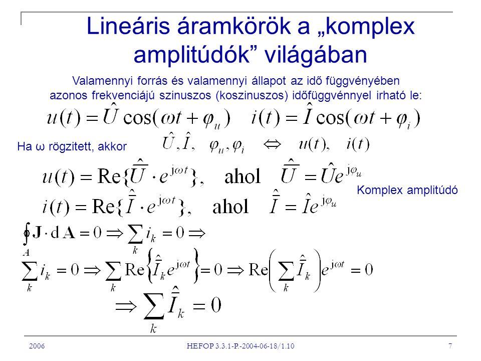"""2006 HEFOP 3.3.1-P.-2004-06-18/1.10 7 Lineáris áramkörök a """"komplex amplitúdók világában Valamennyi forrás és valamennyi állapot az idő függvényében azonos frekvenciájú szinuszos (koszinuszos) időfüggvénnyel irható le: Ha ω rögzitett, akkor Komplex amplitúdó"""