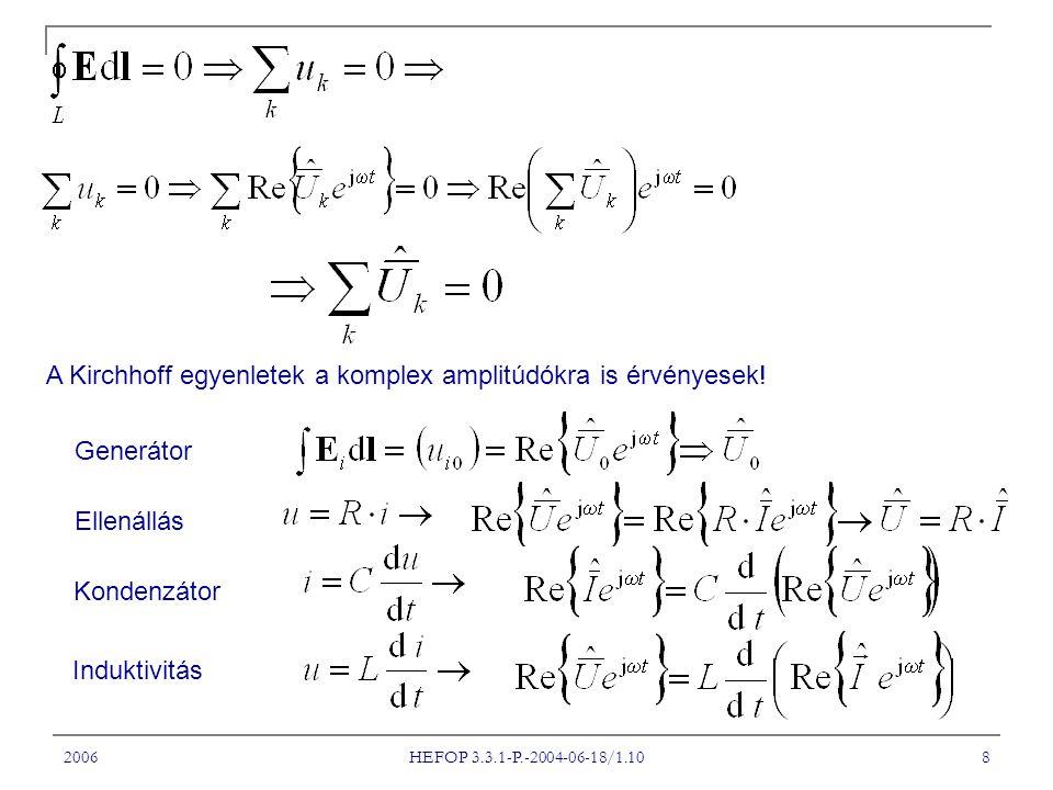 2006 HEFOP 3.3.1-P.-2004-06-18/1.10 8 A Kirchhoff egyenletek a komplex amplitúdókra is érvényesek! Generátor Ellenállás Kondenzátor Induktivitás