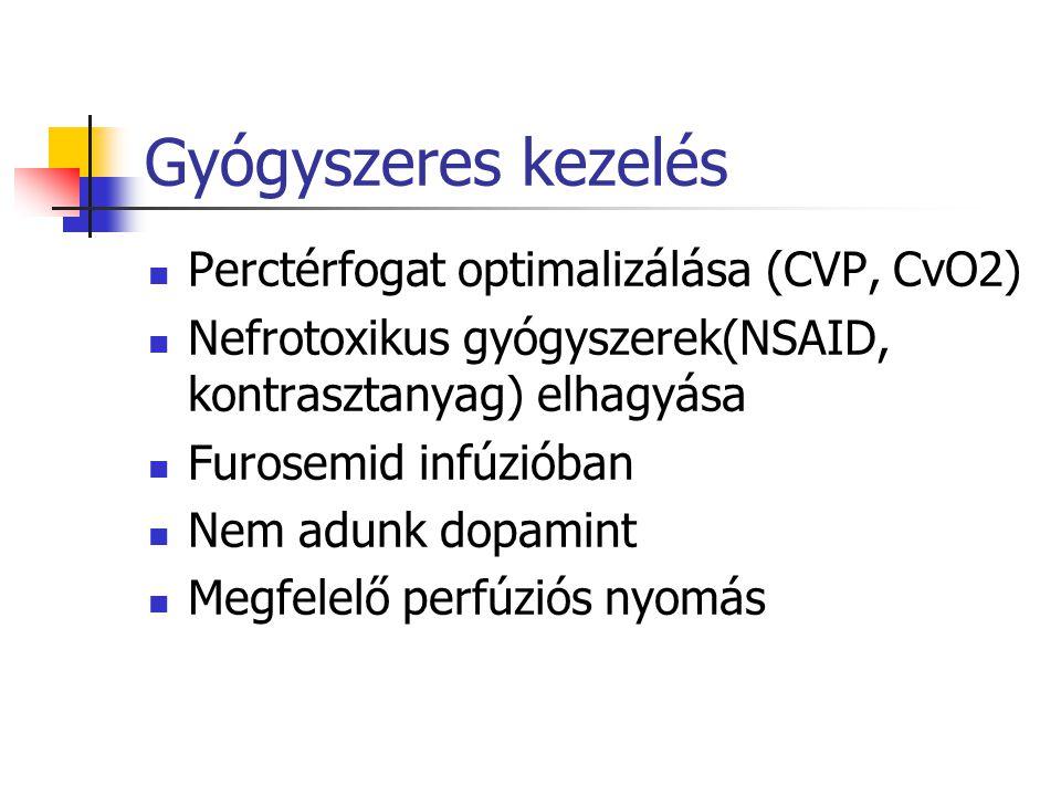 Gyógyszeres kezelés Perctérfogat optimalizálása (CVP, CvO2) Nefrotoxikus gyógyszerek(NSAID, kontrasztanyag) elhagyása Furosemid infúzióban Nem adunk d