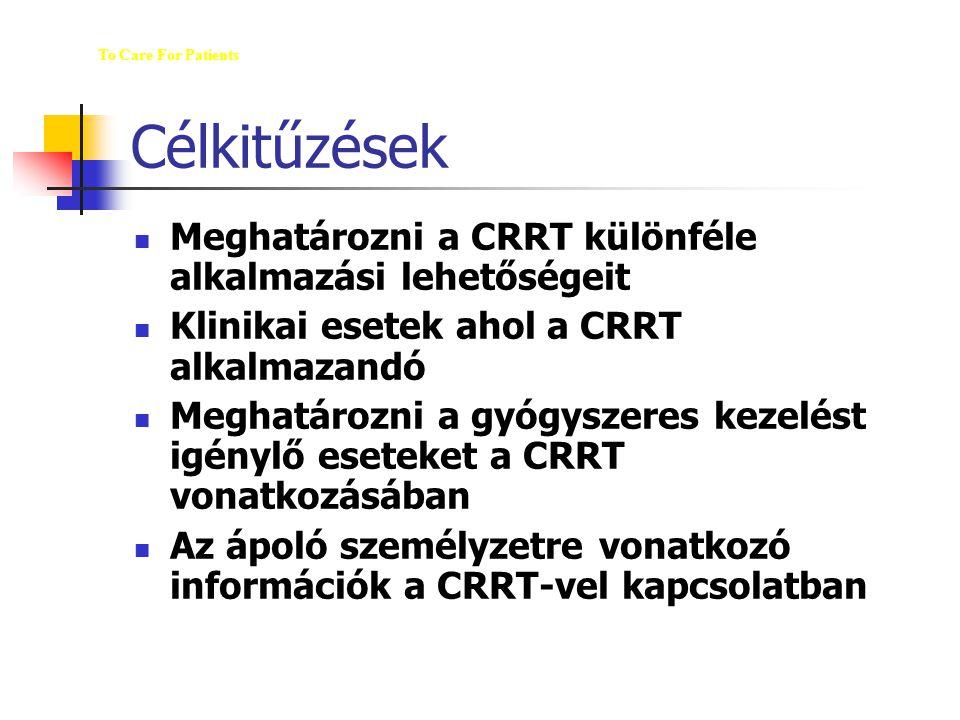Célkitűzések Meghatározni a CRRT különféle alkalmazási lehetőségeit Klinikai esetek ahol a CRRT alkalmazandó Meghatározni a gyógyszeres kezelést igény