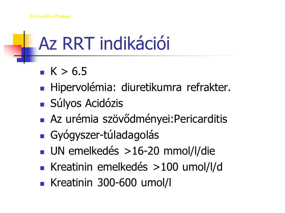 Az RRT indikációi K > 6.5 Hipervolémia: diuretikumra refrakter. Súlyos Acidózis Az urémia szövődményei:Pericarditis Gyógyszer-túladagolás UN emelkedés