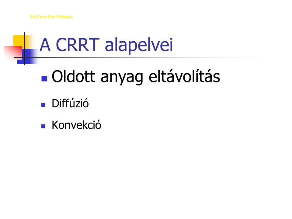 A CRRT alapelvei Oldott anyag eltávolítás Diffúzió Konvekció The M ED  U  WAY To Care For Patients