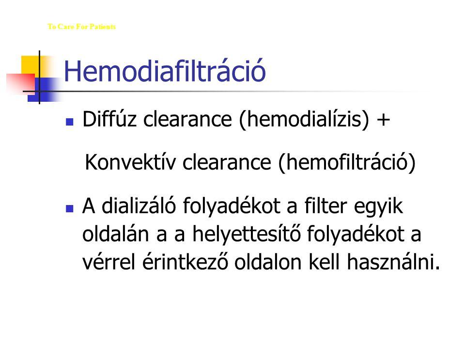 Hemodiafiltráció Diffúz clearance (hemodialízis) + Konvektív clearance (hemofiltráció) A dializáló folyadékot a filter egyik oldalán a a helyettesítő