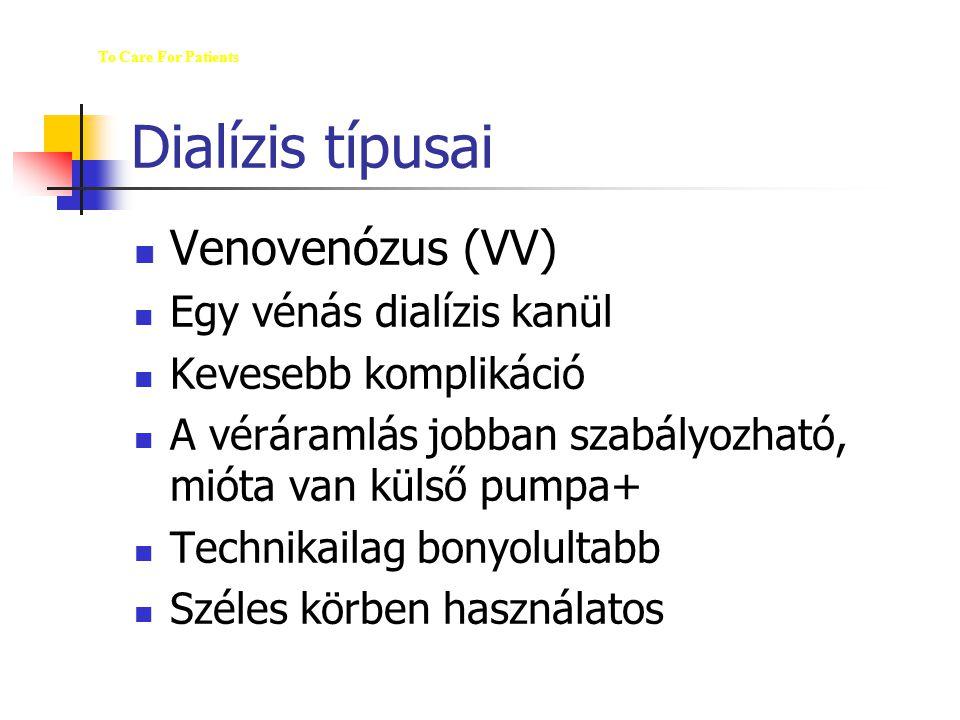 Dialízis típusai Venovenózus (VV) Egy vénás dialízis kanül Kevesebb komplikáció A véráramlás jobban szabályozható, mióta van külső pumpa+ Technikailag
