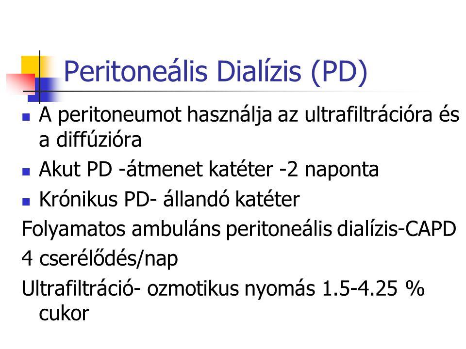 Peritoneális Dialízis (PD) A peritoneumot használja az ultrafiltrációra és a diffúzióra Akut PD -átmenet katéter -2 naponta Krónikus PD- állandó katét