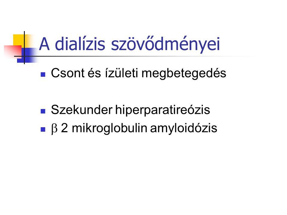 A dialízis szövődményei Csont és ízületi megbetegedés Szekunder hiperparatireózis  2 mikroglobulin amyloidózis