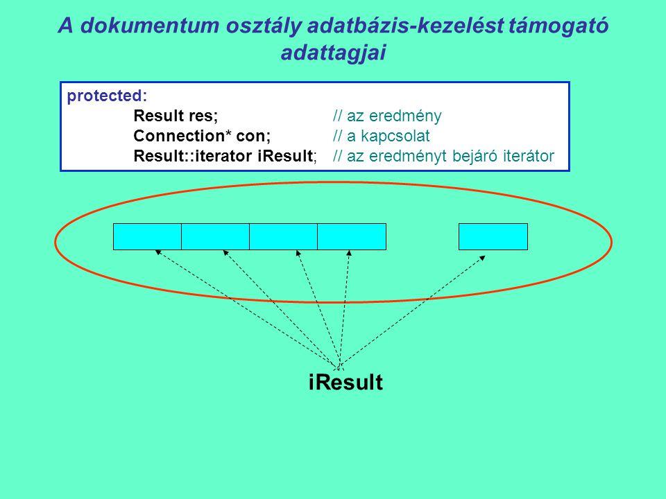 A dokumentum osztály adatbázis-kezelést támogató adattagjai protected: Result res;// az eredmény Connection* con;// a kapcsolat Result::iterator iResult;// az eredményt bejáró iterátor iResult