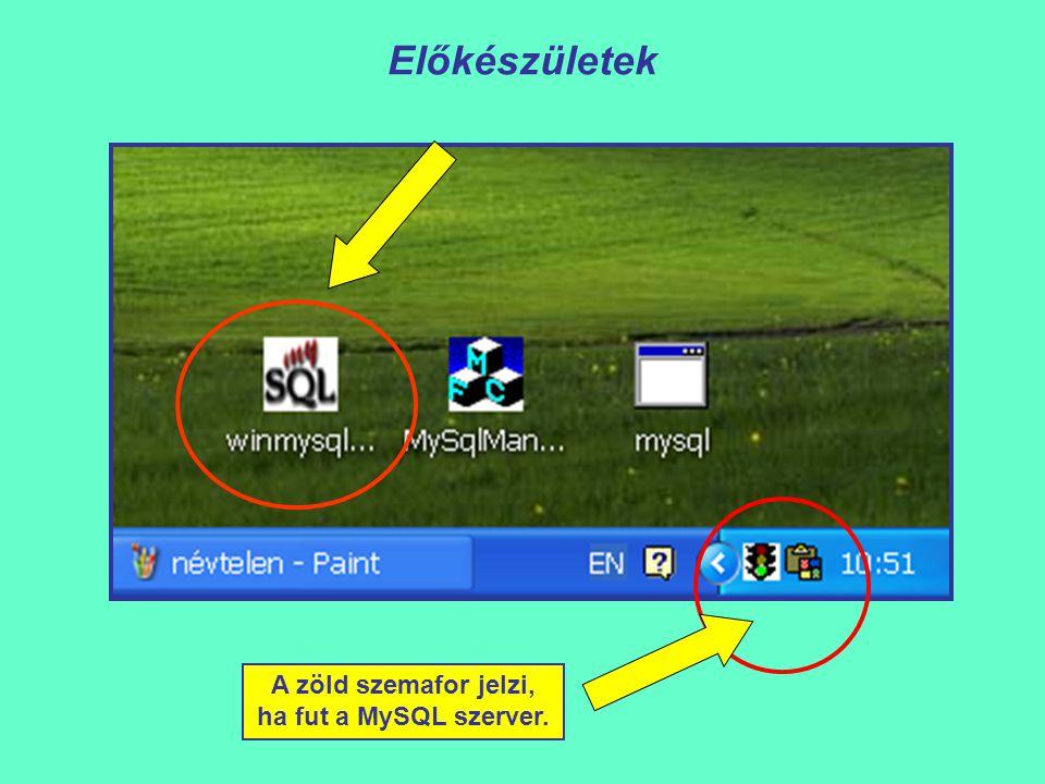 Előkészületek A zöld szemafor jelzi, ha fut a MySQL szerver.
