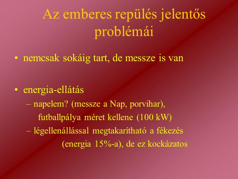 Az emberes repülés jelentős problémái energia-ellátás –napelem? (messze a Nap, porvihar), futballpálya méret kellene (100 kW) –légellenállással megtak