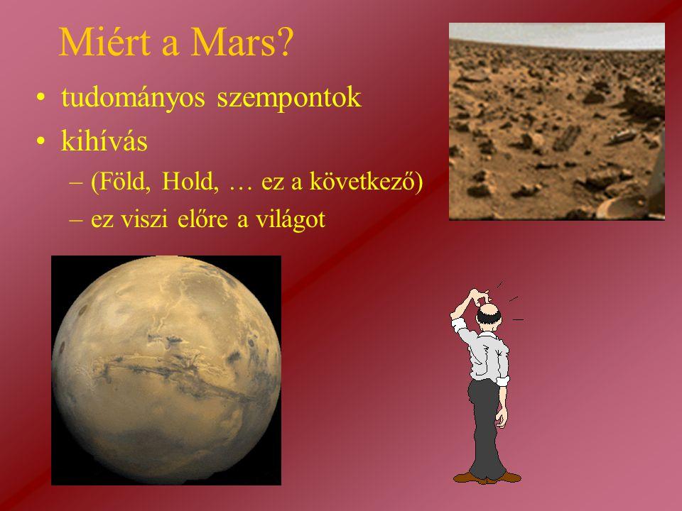Miért a Mars? tudományos szempontok kihívás –(Föld, Hold, … ez a következő) –ez viszi előre a világot