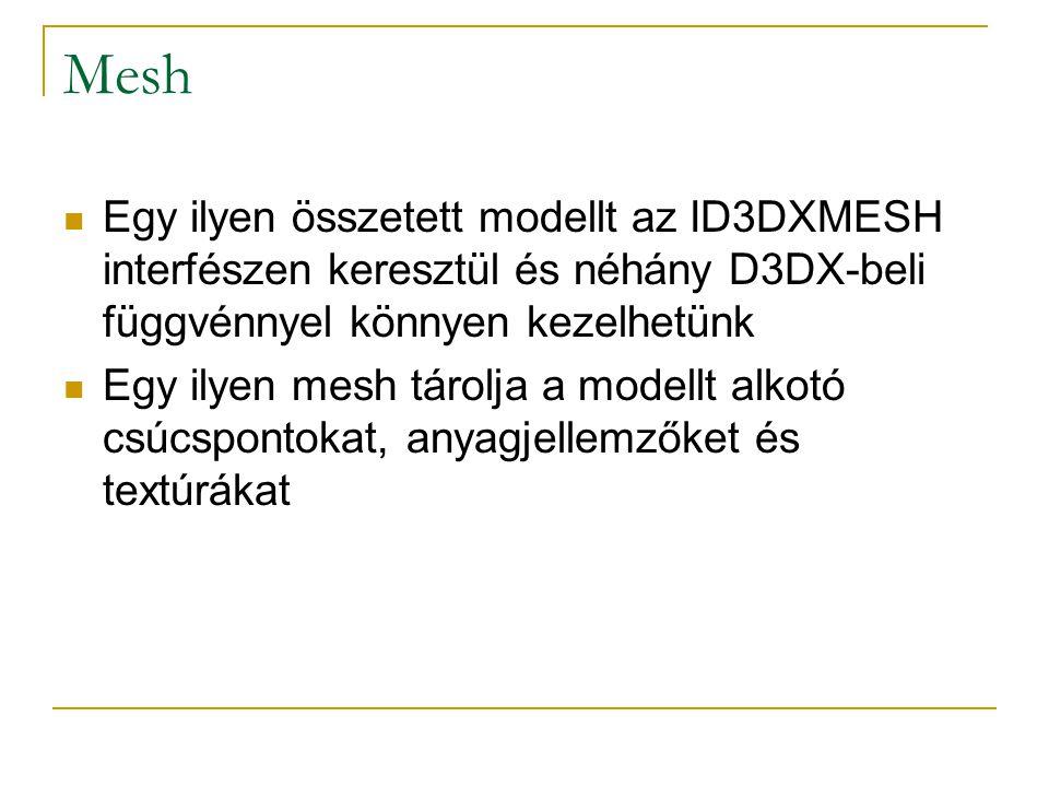 Mesh Egy ilyen összetett modellt az ID3DXMESH interfészen keresztül és néhány D3DX-beli függvénnyel könnyen kezelhetünk Egy ilyen mesh tárolja a modellt alkotó csúcspontokat, anyagjellemzőket és textúrákat
