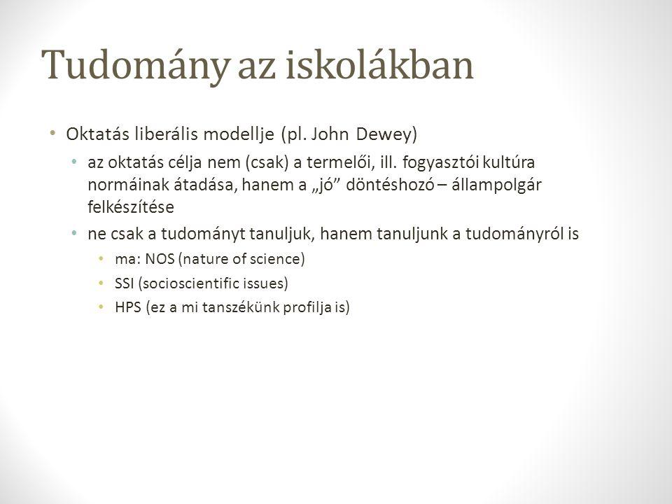 Tudomány az iskolákban Oktatás liberális modellje (pl.