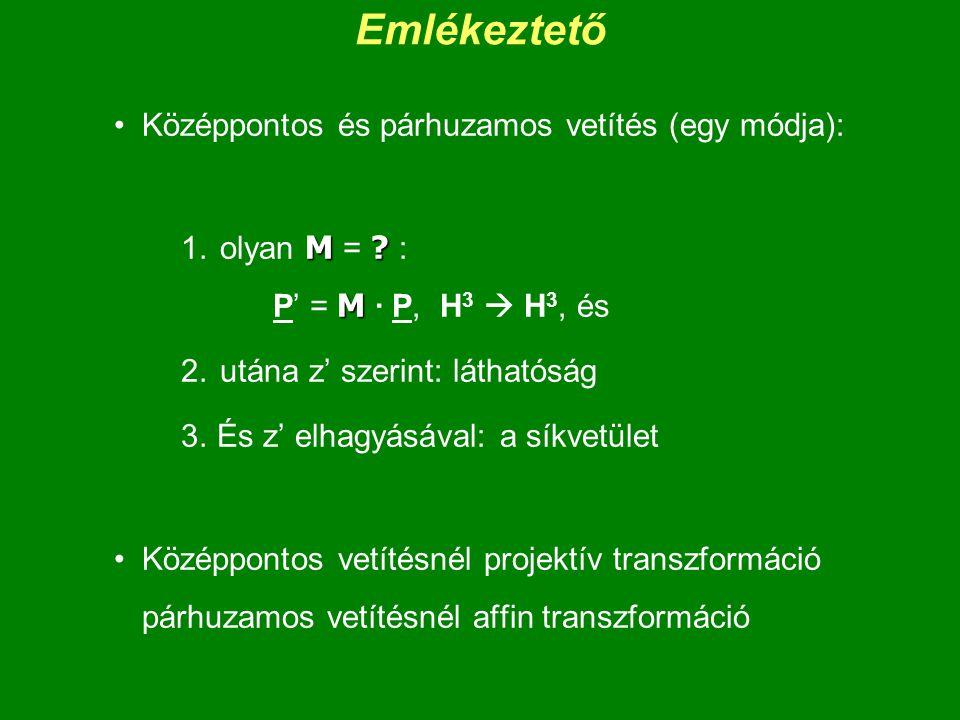Emlékeztető Középpontos és párhuzamos vetítés (egy módja): M ? M 1. olyan M = ? : P' = M · P, H 3  H 3, és 2. utána z' szerint: láthatóság 3. És z' e