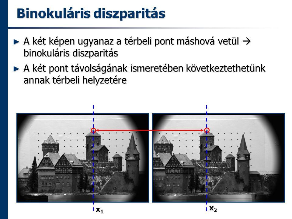 Binokuláris diszparitás ► A két képen ugyanaz a térbeli pont máshová vetül  binokuláris diszparitás ► A két pont távolságának ismeretében következtethetünk annak térbeli helyzetére x1x1x1x1 x2x2x2x2