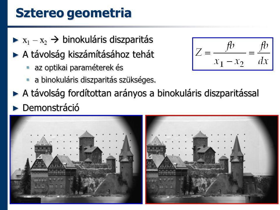 Sztereo geometria ► x 1 – x 2  binokuláris diszparitás ► A távolság kiszámításához tehát  az optikai paraméterek és  a binokuláris diszparitás szükséges.